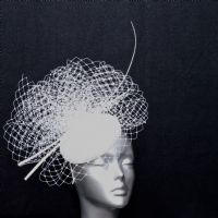 White wedding pillbox fascinator 16363/SD184